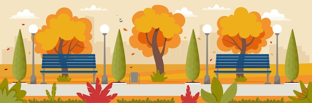 Autumn landscape with benches in the park and yellowed trees vector illustration in flat style