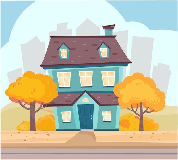 大都市の郊外のロードハウスの近くのかわいい家の木の茂みのある秋の風景