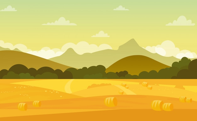 Autumn landscape with fields and mountains at sunset with beautiful sky in pastel colors in flat cartoon style.