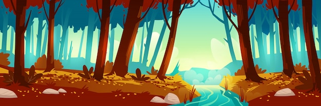 森と川のある秋の風景