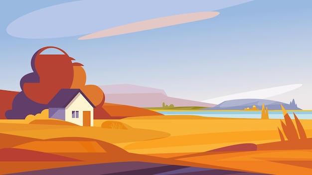 Осенний пейзаж с домом на берегу реки. красивые природные пейзажи.