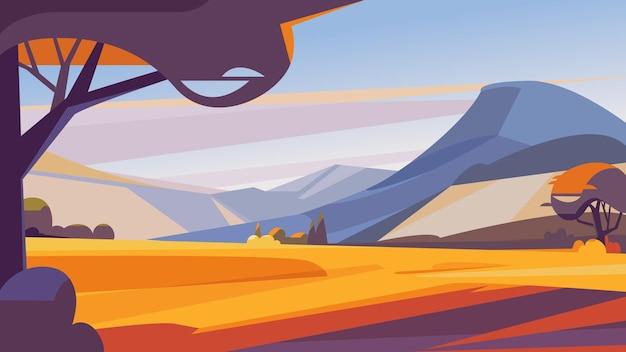 Осенний пейзаж с горами. красивые природные пейзажи.