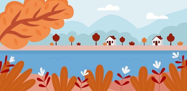 강 산과 집이 있는 가을 풍경 전경