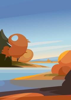 Осенний пейзаж с рекой. природные пейзажи в вертикальной ориентации.