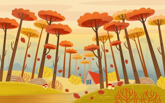 道路、家、黄色の魔法の木のある秋の風景。漫画スタイルのベクトル。