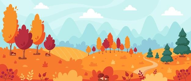 木々と山々畑の葉と秋の風景