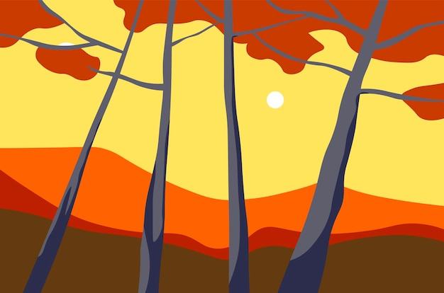 Autumn landscape with trees and sunset view vector
