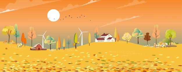 Autumn landscape wonderland in village with farm fields