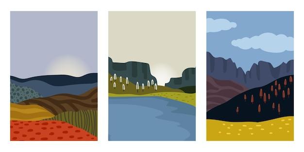 Autumn landscapes cards set