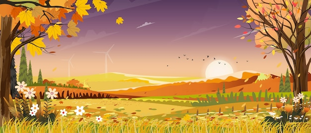 Autumn landscapes of countryside with sunset and purple sky