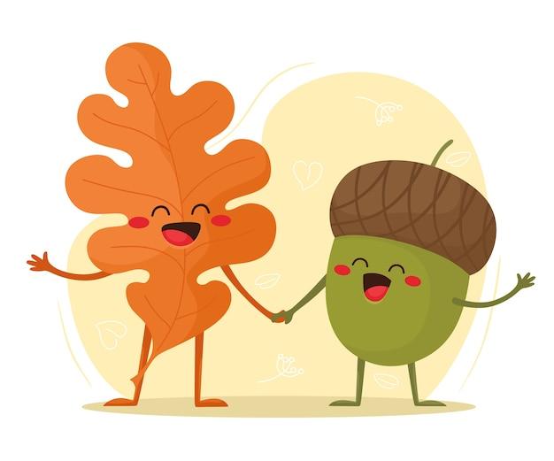 Осенний лист и желудь вместе. привет осень. иллюстрация в плоском мультяшном стиле.