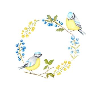 가을 잎, 열매 및 tomtit 새 프레임. 수채화 새 bluetit 그린 지점 손에 앉아.