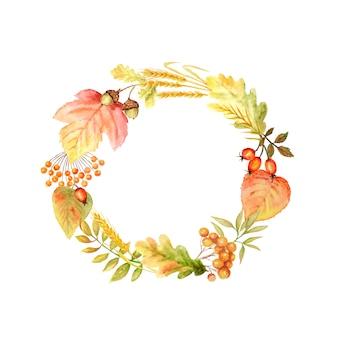 가을 잎 밝은 프레임. 수채화가 잎 손으로 그린 그림 복사 공간.