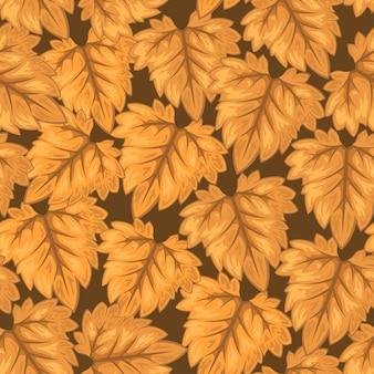 Autumn leaf fall season seamless pattern vector