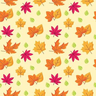 秋の葉のシームレスなパターンベクトルの背景