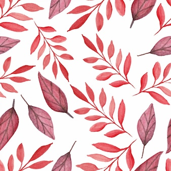 Autumn leaf seamless pattern watercolor style