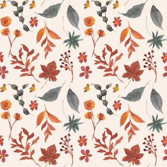 紅葉水彩シームレスパターン