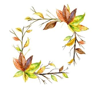 Autumn leaf watercolor square frame