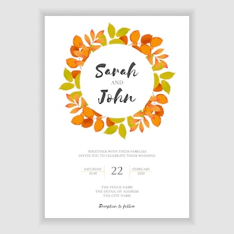 秋の葉の結婚式の招待状のテンプレート