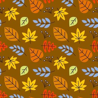 秋の葉のシームレスなベクトルパターンの背景