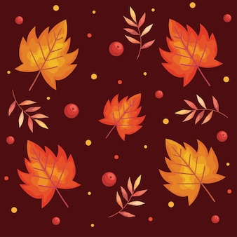Autumn leafs plants and branches foliage pattern  illustration