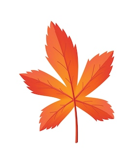 Autumn leave. symbol with watercolor texture