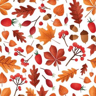 秋の葉と果実のシームレスなパターン。どんぐりの壁紙デザインの秋の紅葉。レッドアッシュベリー、ケープグーズベリー、ドッグローズベリー。植物の包装紙、テキスタイルプリント。