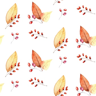 Autumn leaves and branches watercolor seamless pattern