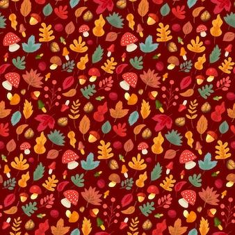 단풍과 버섯 원활한 패턴 벡터