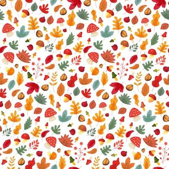 紅葉とキノコのシームレスなパターンベクトル