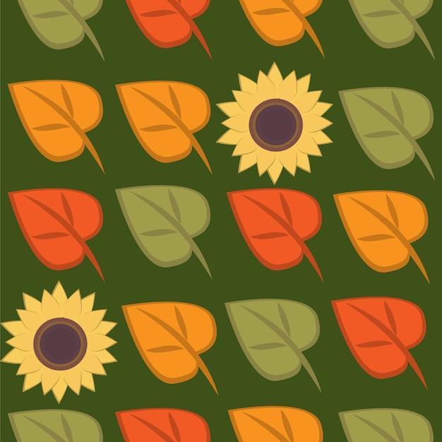 Осенние листья и подсолнечника бесшовные модели.