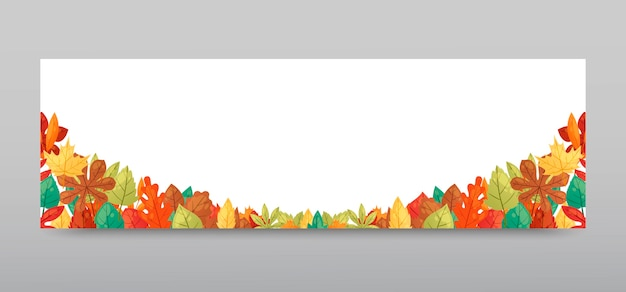 Autumn leaves background banner vector.