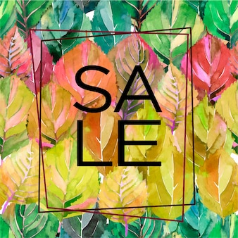 Autumn leaves background card with lettering sale