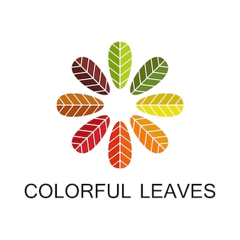 Autumn leaves background, colorful leaf icon for design logo and symbol