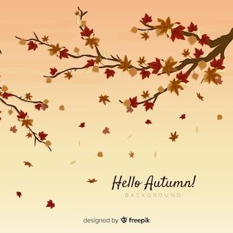 Autumn leaves background flat design