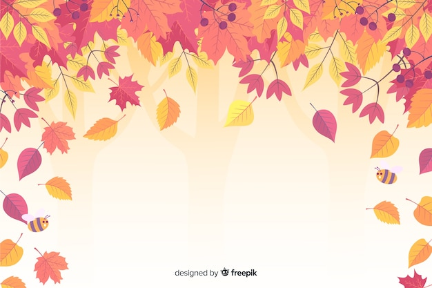 Autumn leaves background flat design