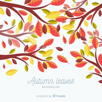 Autumn leaves background in flat style