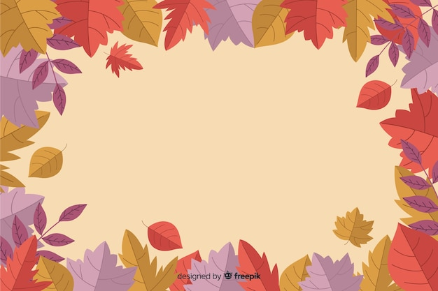 Autumn leaves background flat style