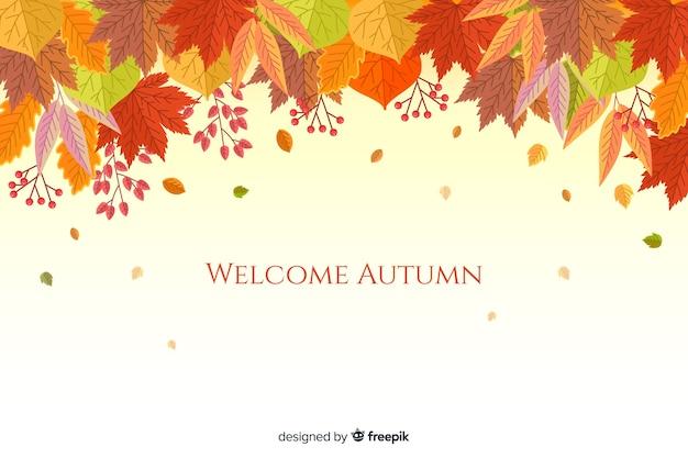 Autumn leaves background flat style