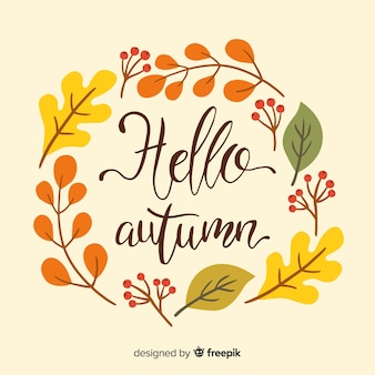 Autumn leaves background hand drawn style