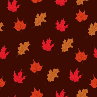 Autumn leaves background seamless pattern