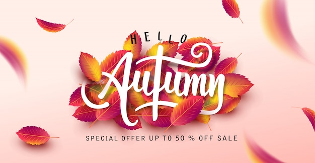 Autumn leaves background. seasonal lettering