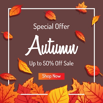 Autumn leaves background for shopping sale or promo design