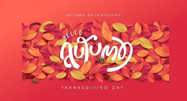 Autumn leaves background. thanksgiving day illustration.