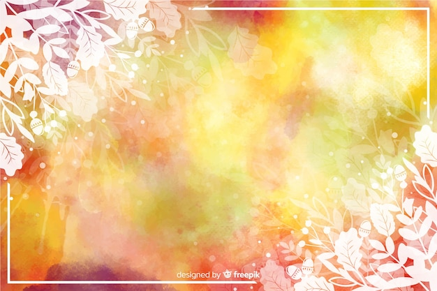 Autumn leaves background watercolor design
