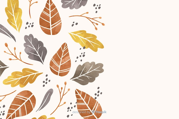 Autumn leaves background watercolor style
