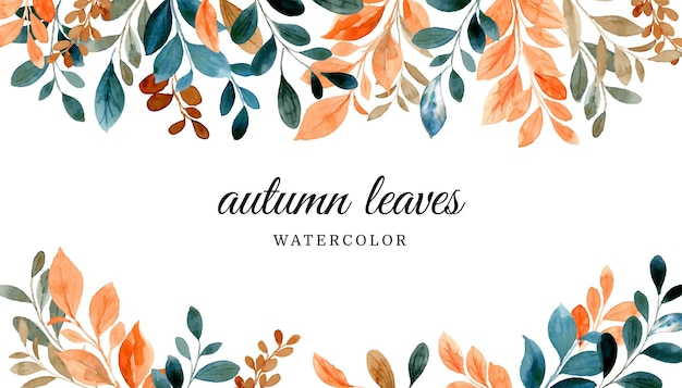 Autumn leaves background with watercolor