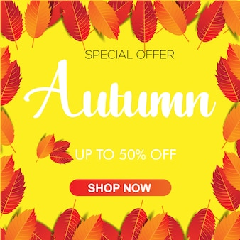 Autumn leaves banner template