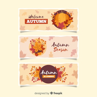 Autumn leaves banner vintage style