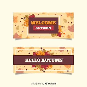 Autumn leaves banner vintage style